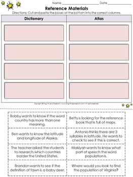 Reference Materials: Dictionary and Atlas Cut and Paste Activity