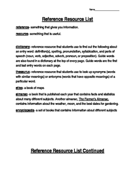 Reference Resource List