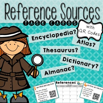 Reference Sources Task Cards with QR Codes