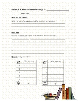 Reflection Form for BrainPOP Jr.