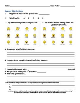 Reflection Sheet for Math Quarterly