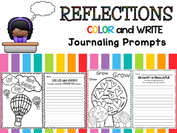 Reflections : Daily Journal Prompts - Color and Write - Ba
