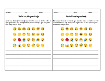Reflexión con Emojis/ Lesson Plan Emoji Reflection in Spanish