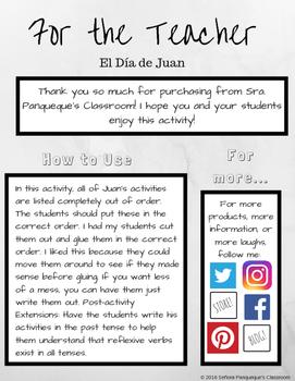 Reflexive Verb Activity: El Día de Juan