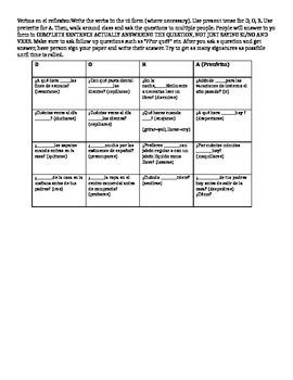 Reflexive Verb Bingo Speaking Activity Descubre 1 Chapter 7