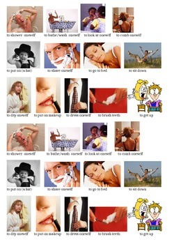 Reflexive Verbs Flashcards with Pictures