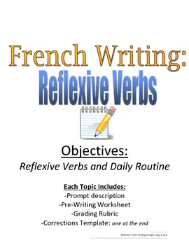 Reflexive Verbs Writing Prompt for French, Rubric and Pre-