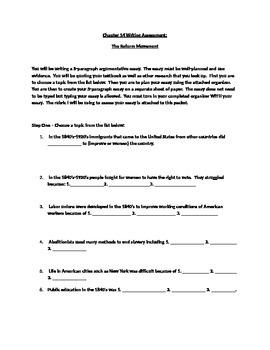Reform Movement Essay Assignment/Writing Assessment