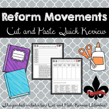 Reform Movements Cut and Paste Review--NO PREP