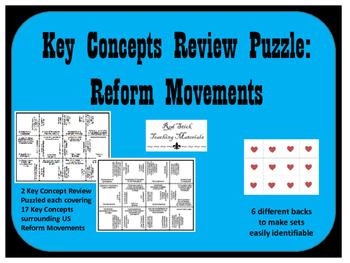 Reform Movements Key Concepts Puzzle--set of 2