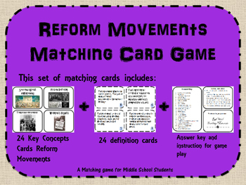 Reform Movements Memory/ Matching Game
