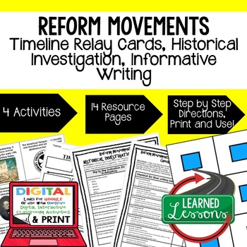 Reform Movements Timeline Relay & Writing Activity (Paper