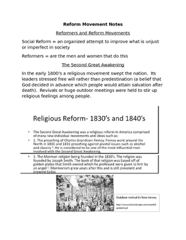 Reform Movements of the 1800's Reading