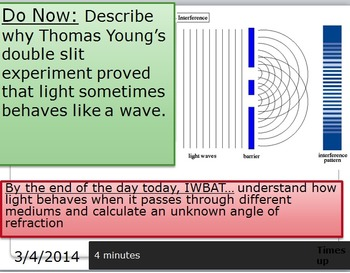 Refraction of light and Snell's Law, powerpoint, notes, wo