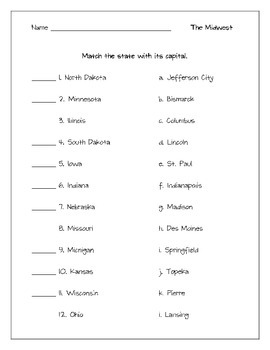 Regional States and Capitals Matching