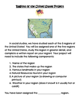 Regions of the United States Project Outline