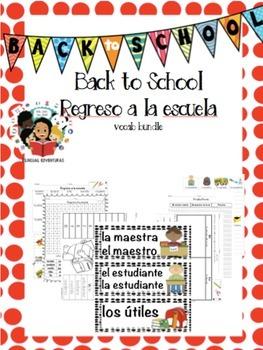 Regreso a la escuela/Back to School- Vocab Bundle/Centers Spanish