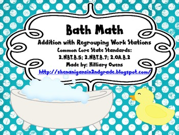 Regrouping Math Bath Stations with two and three digits