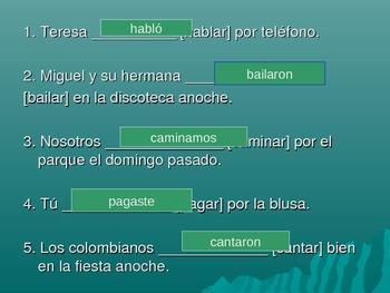Regular -AR Spanish Verb Conjugations in the preterite tense