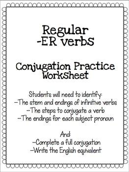 Regular -ER Verb Conjugation Practice