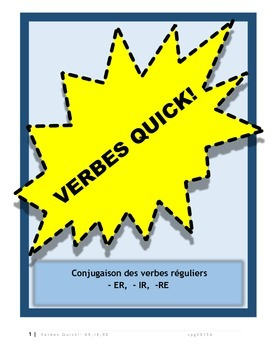 Regular French Verbs- ER, IR, RE- Conjugation charts and e