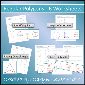 Regular Polygons ~ Finding Apothem~Central Angle~AREA~ 6 W
