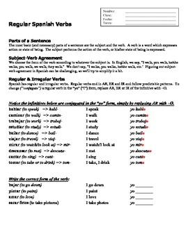 Regular Spanish Verbs, Yo Practice, Forming Sentences--8 Pages!