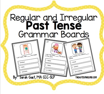 Regular and Irregular Past Tense Grammar Boards