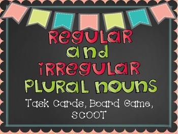 Regular and Irregular Plural Nouns Task Cards, SCOOT, and