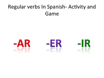 Regular verbs in Spanish- Activity and Game