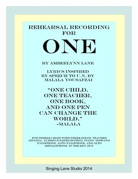 Rehearsal Recording for ONE (can change the world) for tre