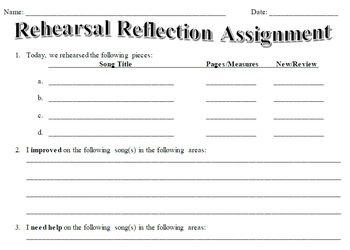 Rehearsal Reflection Assignment