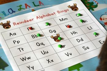 Reindeer Alphabet Bingo Boards