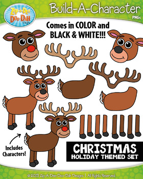 Reindeer Christmas Themed Build-A-Character Clipart Set —