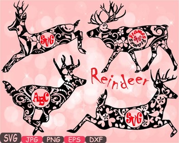 Reindeer Circle deer Jungle Animal mascot school Clipart s