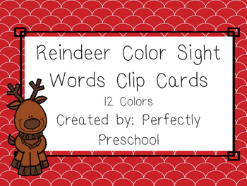 Reindeer Color Sight Word Clip Cards