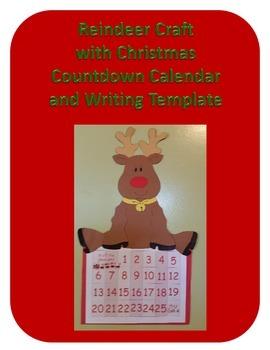 Reindeer Craft with Christmas Countdown Calendar and Writi