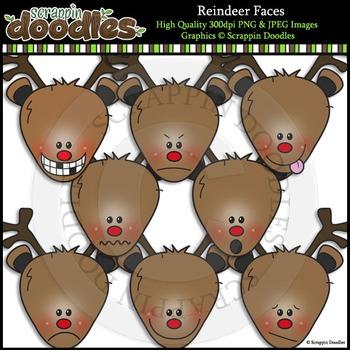 Reindeer Faces Clip Art & Line Art