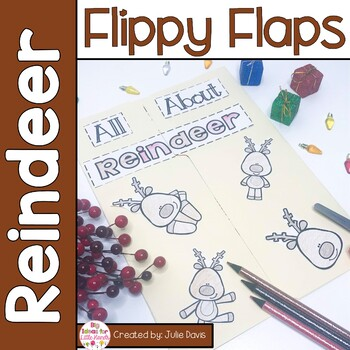 Reindeer Flippy Flaps Interactive Notebook Lapbook