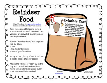 """""""Reindeer Food"""" Tags And Directions"""