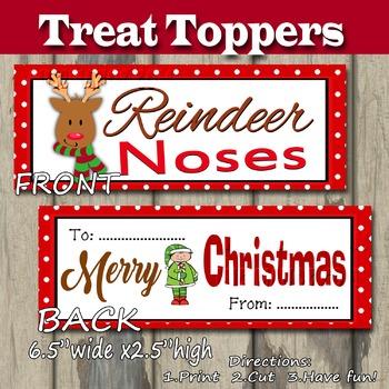 Reindeer Noses Treat Topper Christmas DIY Printable- Snack