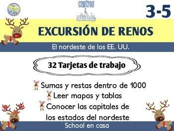 {FREE} Reindeer Roadtrip: Northeast | Task Card Version, Spanish