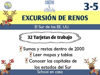 Reindeer Roadtrip: South | Task Card Version, Spanish