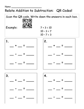 Relate Addition to Subtraction: A QR Code Activity!