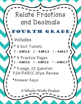 Relate Fractions and Decimals for Fourth Grade: Exit Ticke
