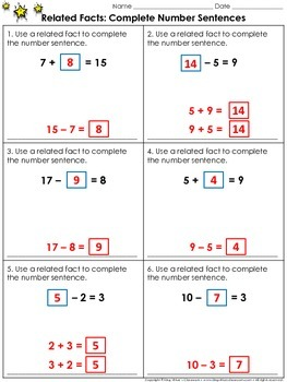 Related Facts: Complete Number Sentences Practice Sheets -
