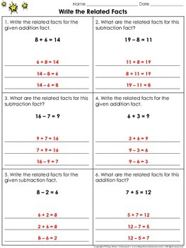 Related Facts: Write the Related Facts Practice Sheets - F