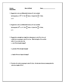 Related Rates Worksheet