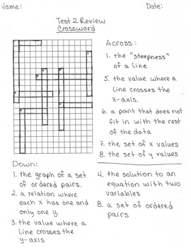 Relations & Graphing Crossword puzzle