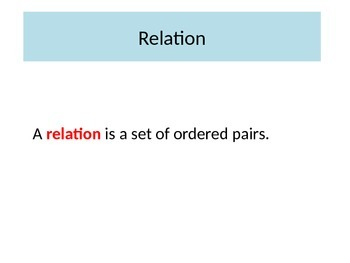 Relations and Functions Lesson Opener PowerPoint